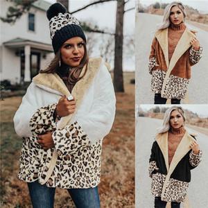 معطف الشتاء Flecce النسائية مصمم ليوبارد كم المرقعة طويل التلبيب الرقبة سميكة جاكيتات دافئة عارضة ملابس خارجية ملابس للنساء