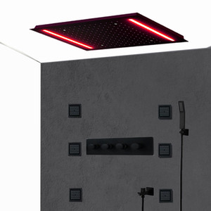 Komplettes Matt Black Body Jets Spa Duschsystem Embeded Decke Groß Regen LED Showerhead High Flow Brausenthermostat Valve