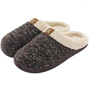 Coslônios homens acolhedores chinelos lã lã lã lã alinhada caseira sapatos interior ao ar livre Anti-Skid Borracha Sola Mulheres sentidos Slipper1