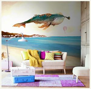 Duvar Salon Büyük Papel Duvar 3d Duvar Resmi için Bacal Boyalı Deniz Fly Bay balina Karikatür Duvar 3d Duvar Resmi Resimleri Wallpaper