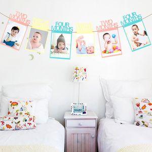 12pc / комплект 1-12 месяцев младенец Photo Frame Photo Frame День Душа ребенок Holder Дети подарок на день рождения номер украшение