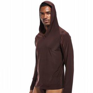 Men's sleep tops pyjamas men sleepwear shirt silky hooded underwear men camiseta hombre ropa gay nightshirt men bielizna nocna 201109