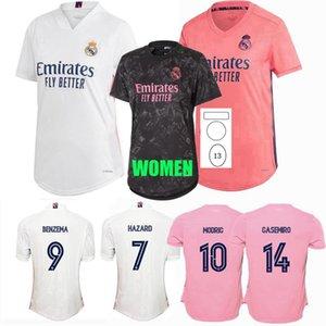 Реальные мадридские женские футбольные трикотажки 2020 2021 Vinicius JR Valverde Hudlois Hazard Kroos Benzema Modric 20 21 футбольная женская рубашка