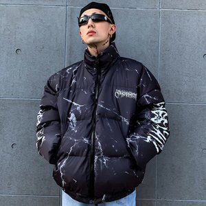 Hipster Down Jacket Cartoon Bear Print Parka Harajuku Streetwear Windbreaker Winter Coat Men Clothes 201118