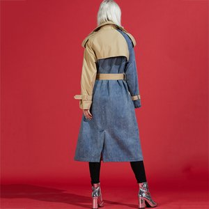 [LANMREM] autumn New Products Turn-down Collar Spliced Denim Patchwork Windbreaker Female Trench WJ26604M 201030