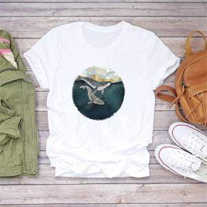 Women Whale Fish Cute Art Painting Ladies Womens Tops Aesthetic Clothes Graphic Female Ladens Graphic Female Tee T Shirts