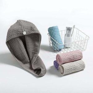 Waffle Shower Towel Cap Super Absorbent Dry Hair Cap Bath Wrap Hat