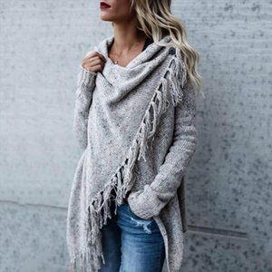 Women Fashion Tassel Hem Sweater Cardigans Autumn Spring Knit Irregular Long Sleeve Solid Color Poncho and Capes