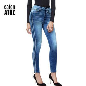 2173 New Women Side Stripes High Waist Denim Striped for Female Blue Patchwork Pants Skinny Jeans 201110