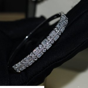 K Choucong New Arrival Luxury Jewelry 925 Sterling Silver Princess Cut White Topaz Cz Diamond Circle Women Wedding Bangle Gif