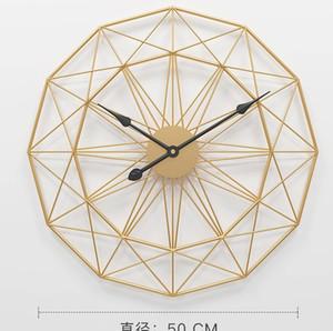 50cm 60cm Metall schweigt schwarz retro Schlafzimmer Gold runden Wanduhr Uhr nach Hause Wohnzimmer dekorative Uhren