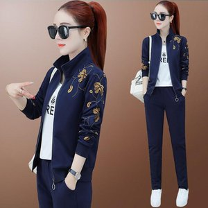 tracksuit for women 2020 spring female new fashion Grass embroidery jacket tops+pants suits female Casual two-piece sets