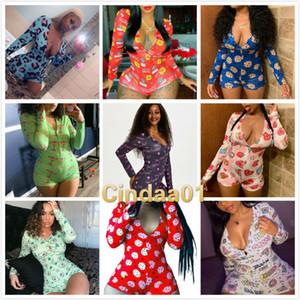 Women Pajama Onesies Designer Nightwear Playsuit Workout Button Skinny Cartoon Print Jumpsuits V-neck Short Onesies Rompers C213