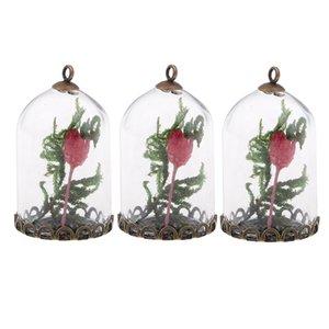 3 peça Garrafa Moss vidro da flor encantos Pingentes com furo fazer jóias Acessórios para DIY Colar