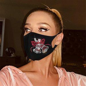 Yeni Tasarımcı Noel Flash Elmas Süs Yüz Maskesi Erkekler Ve Kadınlar Yetişkin Noel Yıkanabilir Bez Maskeleri Moda Asılı Kulak Maskesi