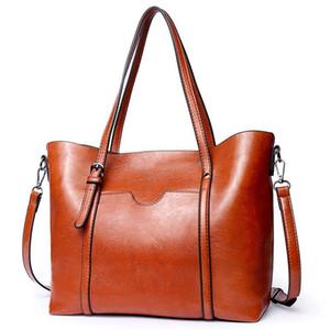 OLUOLIN High Quality Women Casual Bag Oil wax Women's Leather Handbags Luxury Lady Hand Bags Female messenger bag Big Tote
