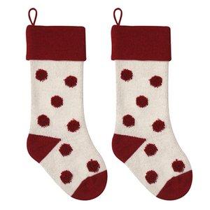 2pcs With Strap Party Christmas Stockings Polka Dot Pattern Candy Pouch Knitted Acrylic Home Portable Gift Bag Large Capacity