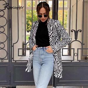 Rapcopter Zebra Imprimé Manteau Femme manches longues Tenues Baissez col Vestes automne Tenues hiver Streetwear tendance Outwear
