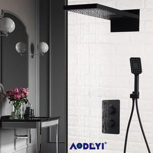 Aodeyi parede montada Black Latão Banheiro termostática torneira do chuveiro Set chuvas Cachoeira Chuveiro Bath Faucet bbyyfl bdebaby