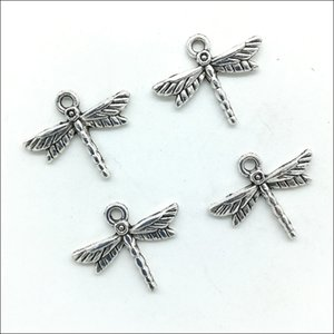 Wholesale Lot 100pcs Cute dragonfly Antique Silver Charms Pendants For Jewelry Making DIY Earrings Bracelet 16*19mm