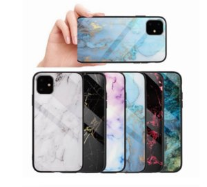 Real Tempered Glass Hard Case For Iphone 12 11 Pro XS MAX XR X 8 7 6 Plus Soft TPU Marble Stone Rock Hybrid Phone Cover