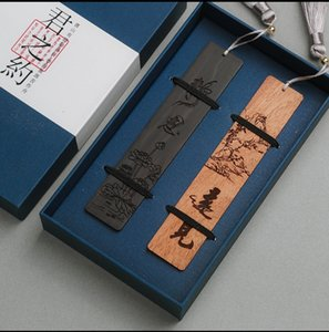 FWH04 Brand New Chinese classical style bookmark 100% wooden 2pcs set drop shipping