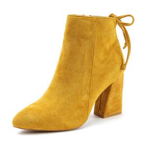 Pattini caldi Aphixta Classics caviglia Kid morbida pelle scamosciata TPR Anti-Skid Stivali Donna Tacchi alti Zipper causale signore Calzature