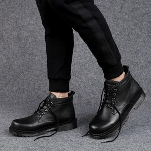 Hot Sale-New Warm Snow Men Plus Velvet Men's Genuine Leather Outdoor Cold Boots Waterproof Men's Boots High-gang Cotton Boots