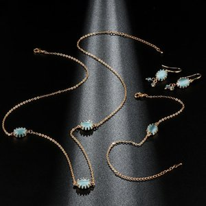 Kinel Luxury Bridal Jewelry Set Fashion Gold Blue Opal Colgante Collar y Pendientes Pulsera para Mujeres Boho Jewelry Wholesale