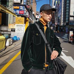 Korean Style Men's Spring and Autumn All-match Dark Green Velvet 2020 New Trend Jacket Men Clothing Y1112