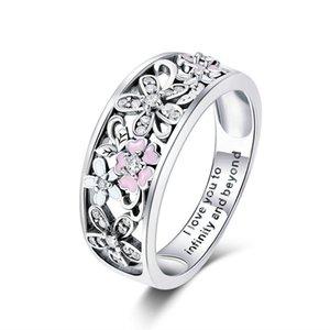 Moda prata esterlina 925 Sakura Cherry Blossom Pink Flower Mulheres Anel Jóias Presentes de Natal Size6-9 para meninas