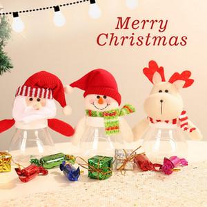 Noel Şeker Kavanozu, Elk Santa Kardan Adam Plastik Şeker Kurabiye Hediye Şişe Konteyner Noel Dekorasyon Kutular Noel Hediye Parti Decora