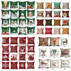Hot Sale New Christmas Sofa Pillowcase Plaid Snowman Xmas Tree Deer Reindeer Cushion Cover Pillow Cases Home Sofa Car Decor HH9-3548