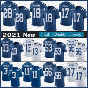 28 Jonathan Taylor Philip Rivers Darius Leonard 18 Peyton Manning Blankenship Michael Pittman Jr. Quenton Nelson Hilton Ind Football Jerseys