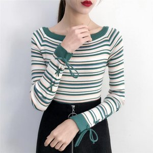Shintimes 2020 Hiver Nouvel Arrivage Femmes Casual Lace Up overs Pull rayé Slim pull en tricot Automne O Pulls cou