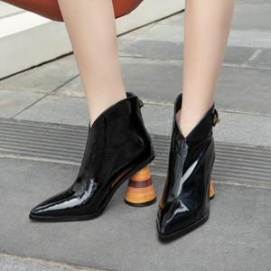 NORBERG 2020 yeni sonbahar ve kış sivri burun moda yarım bot yüksek topuk tam inek deri çizme bayan ayakkabı beyaz