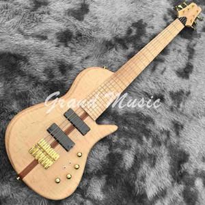 Custom Natural OM 6 strings butter-flying Bass Guitar Factory Ash wood Electric Bass with Active pickup Customized guitar bass job is ok