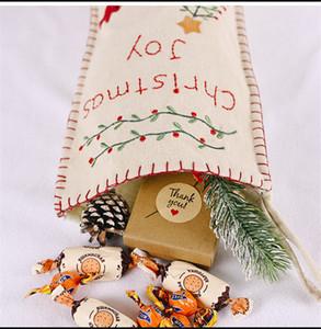 Arpillera bordado calcetines de la Navidad 46 * 18cm niños y regalo de Santa muñeco de nieve de caramelo bolsa de arpillera Diseño bordado de Navidad decorativo Stocking GGE1703