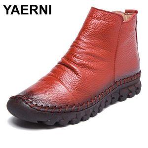 Yaerni Fashion Genuine Cuero Pleated Femenino Botas de tobillo Mujer Zapatos Cuñas Sintético Impermeable Mujer Primavera / Otoño Botas