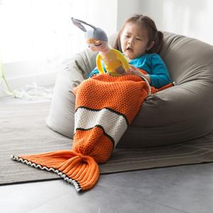infantil Fishtail Mermaid Ar Condicionado Lazer Nap bebê Adulto malha Blanket Nemo Fish I5bw