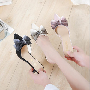 European Style Slippers Women Pointed Toe Heel Shoes Casual Party Evening Female Sandals Bridal Shoes Wedding Bridesmaids Slipper AL8433
