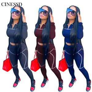 Cinessd Fashion Best-selling Sports Women's Two-piece Solid Color Long-sleeved Short Top + Casual Pencil Pants Suit