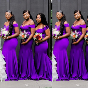 New African Purple Bridesmaid Dresses Off Shoulder Mermaid Cap Sleevels Sweep Train Plus Size Wedding Party Guest Dress Maid of Honor Gowns