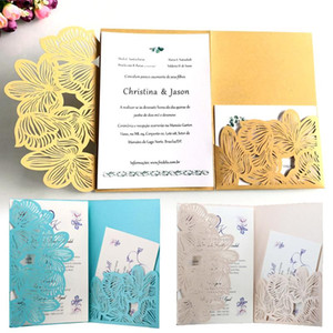 10PCS Laser Cut Wedding Invitation Cards Greeting Card Customize Business Cards Party Supplies 3 Colors 18*12.5Cm