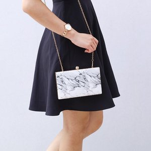 new marble-pattern square box bag evening bag banquet handbag