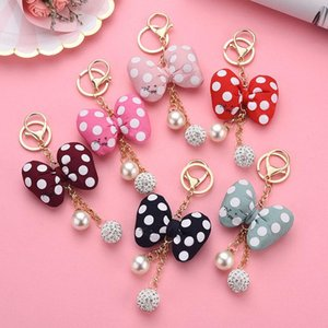 6 Color Key Chain Cartoon Dot Bow pearl Key Ring Pendant Car Bag Ornament Fashion Parts Toy