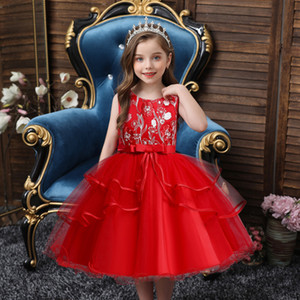 Girl's Dress Flower Children Dress Embroidery Bow Princess Dress Fashion High End Kids Prom Performance Dresses