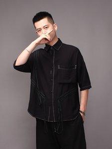 2021 ¡Nuevo S-7XL !! Popular Black Line Splice Design Short Male Tendede Ver Verano Cinco Minutos Sleeve H93Q