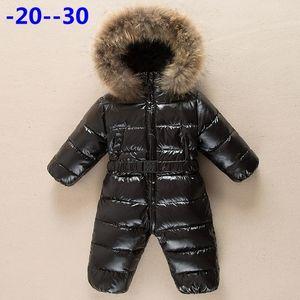 Россия детская зимняя комбинезона одежда теплая верхняя одежда пальто снежные износа утка вниз куртка сходства для детей мальчики девушки одежда 201030