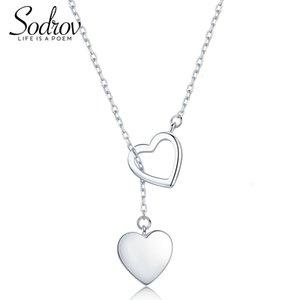 Collana Sodrov Sterling per Heart Doppio Donne di alta qualità Belle Silver Jewelry 925